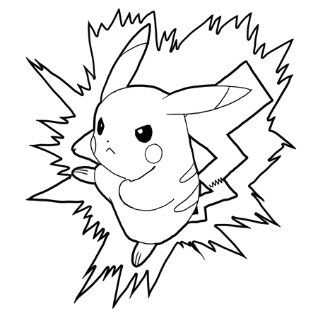 how to draw pikachu attacking in battle pokemon drawing step