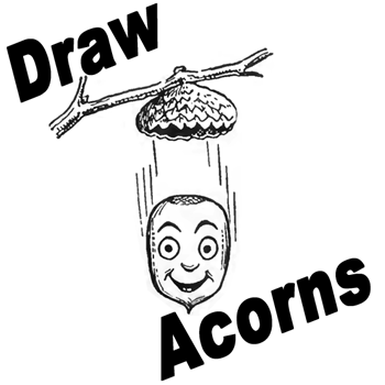 how to draw acorns falling from oak tree branch with easy drawing