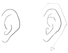 how to draw a simple ear