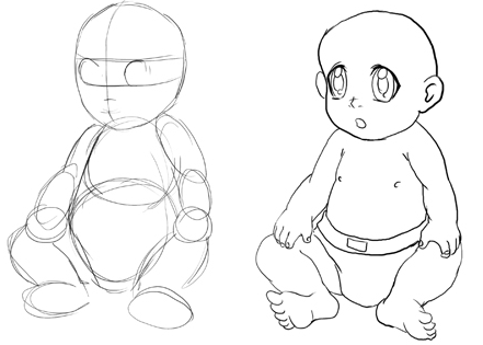 step by step how to draw a baby girl