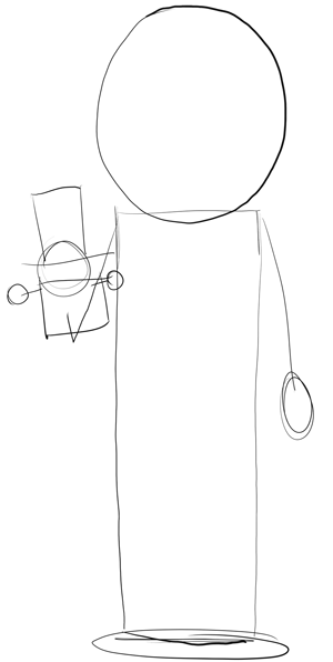 Step 1 : Drawing Mr. Garrison and Puppet Mr. Hat Step by Step
