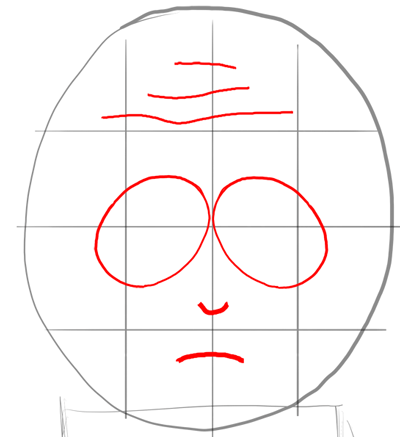 Step 4 : Drawing Mr. Garrison and Puppet Mr. Hat Step by Step