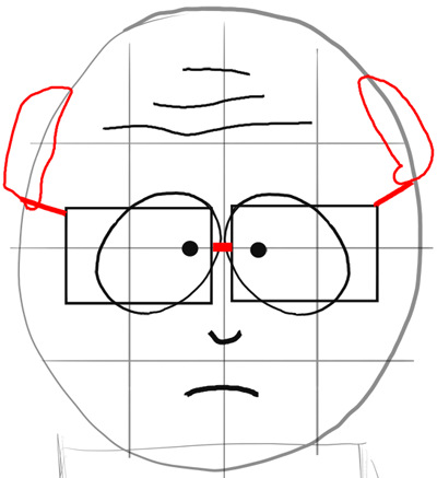 Step 6 : Drawing Mr. Garrison and Puppet Mr. Hat Step by Step