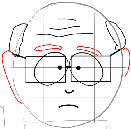Step 7 : Drawing Mr. Garrison and Puppet Mr. Hat Step by Step