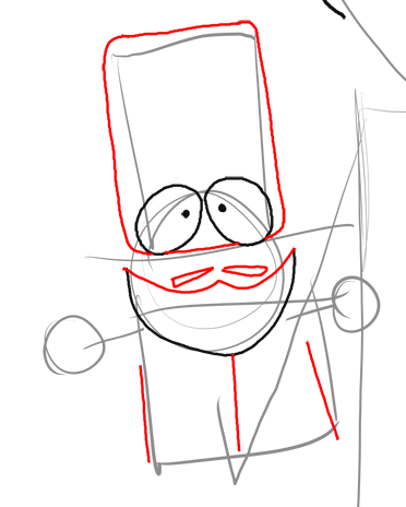 Step 9 : Drawing Mr. Garrison and Puppet Mr. Hat Step by Step
