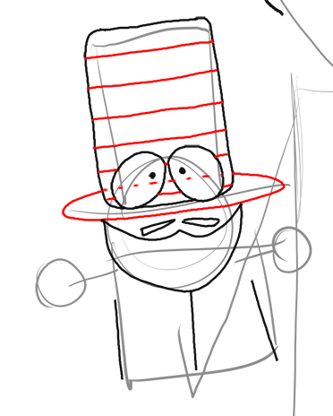 Step 10 : Drawing Mr. Garrison and Puppet Mr. Hat Step by Step