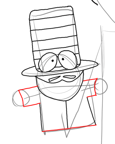 Step 11 : Drawing Mr. Garrison and Puppet Mr. Hat Step by Step