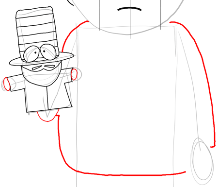Step 12 : Drawing Mr. Garrison and Puppet Mr. Hat Step by Step