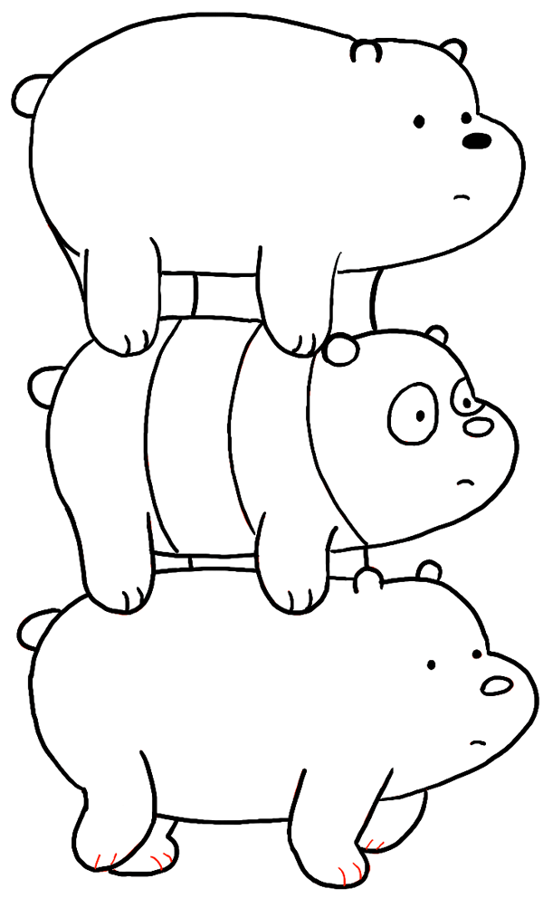 we bare bears coloring pages - how to draw grizzly panda and ice bear from we bare bears