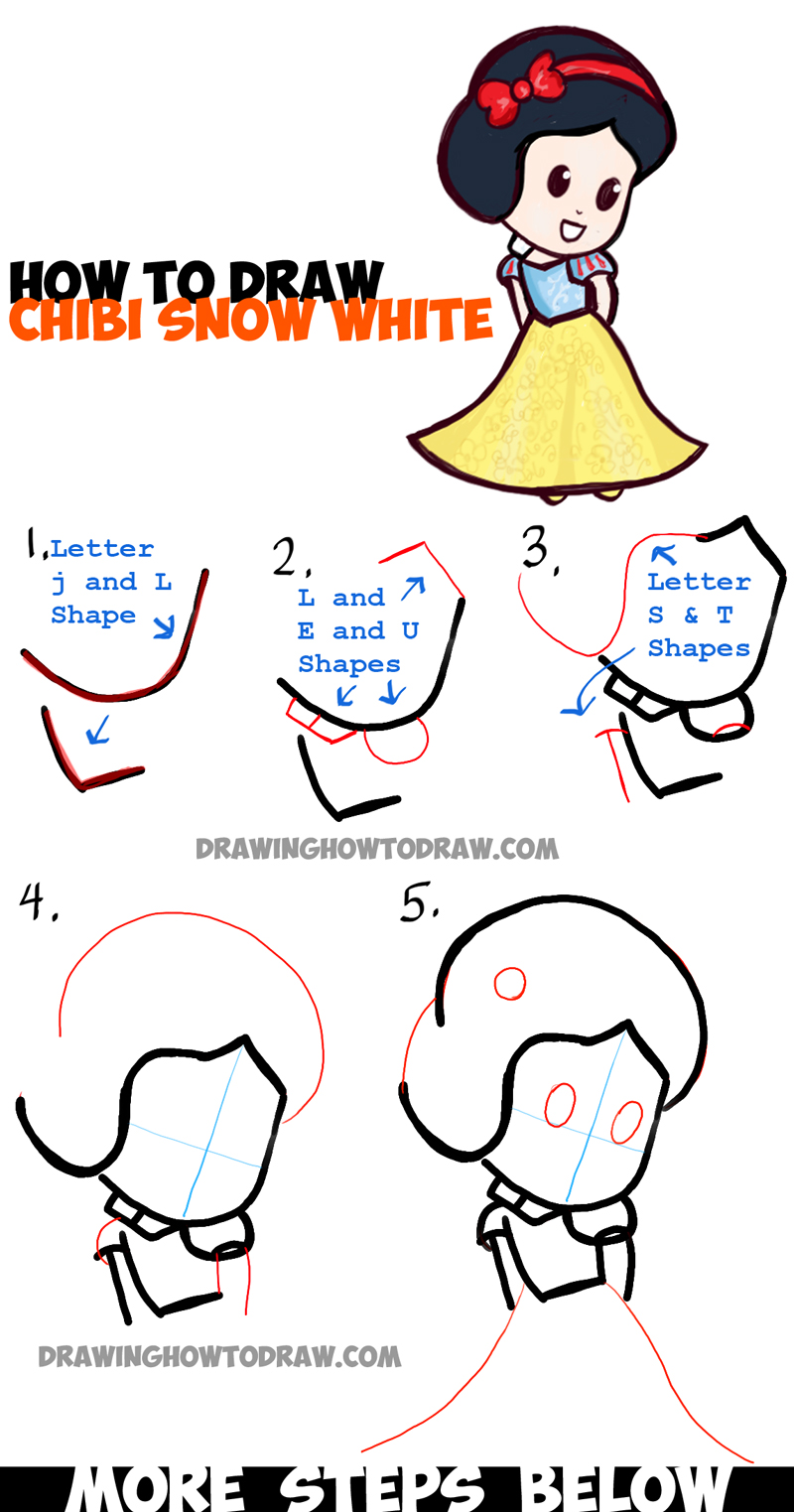 Easy Step By Step Drawing Tutorial: How To Draw Cute Baby Chibi Snow White In Simple Step By