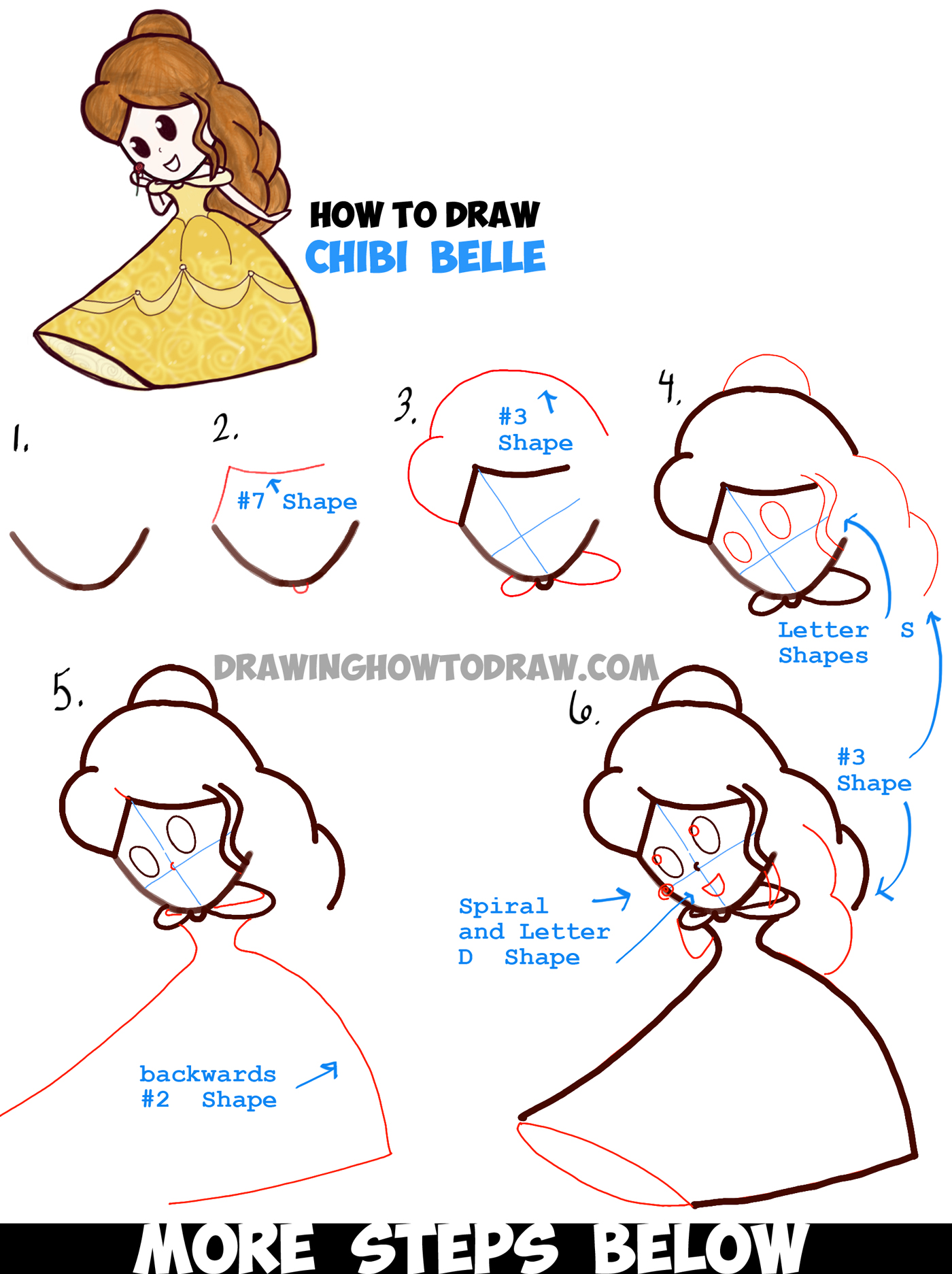 How to draw cute baby chibi belle from beauty and the for How to draw things step by step