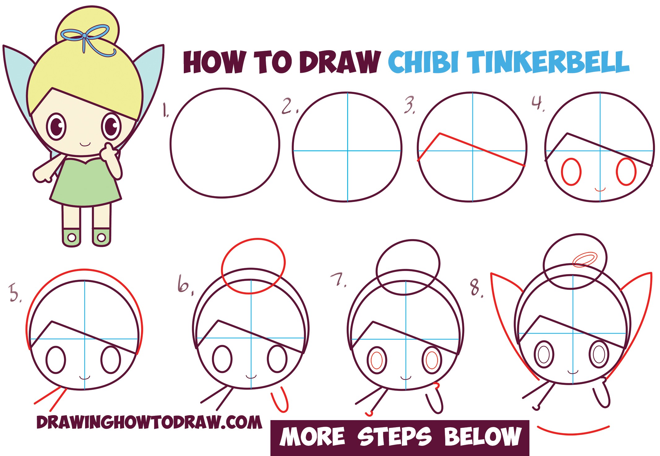How to draw chibi tinkerbell the disney fairy in easy for How to draw things step by step