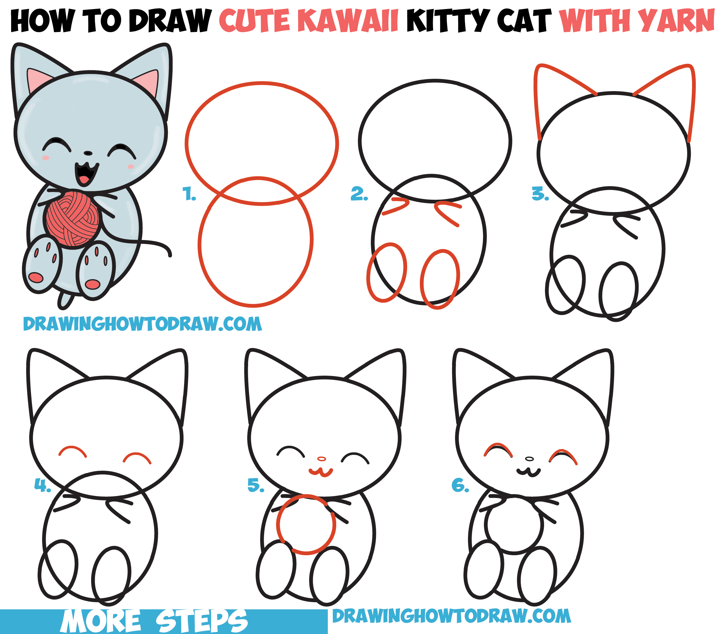 How to draw cute kawaii kitten cat playing with yarn for Simple drawings step by step